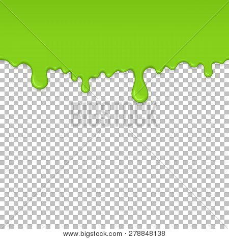 Light Green Dripping Slime Seamless Pattern. Zombie Slime Background. Kids Sensory Toy Vector Illust