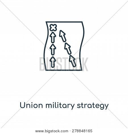 Union Military Strategy Icon In Trendy Design Style. Union Military Strategy Icon Isolated On White