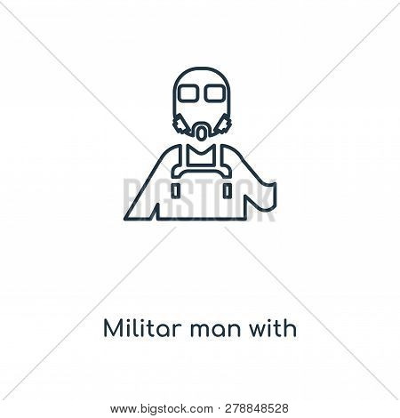 Militar Man With Protection Icon In Trendy Design Style. Militar Man With Protection Icon Isolated O