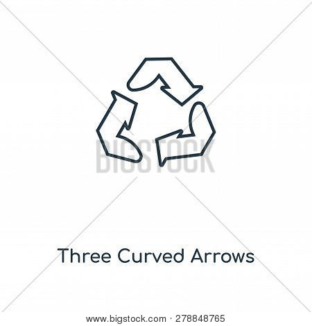 Three Curved Arrows Icon In Trendy Design Style. Three Curved Arrows Icon Isolated On White Backgrou