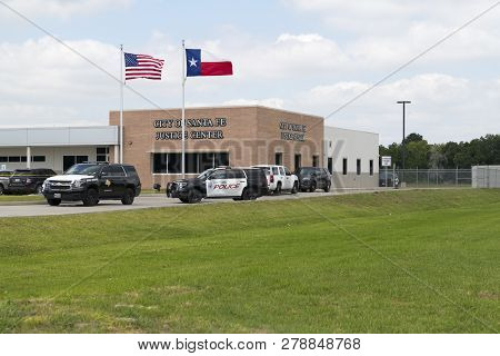 City Of Santa Fe, Texas - May 18, 2018: Vehicles From Several Police Departments Parked Outside Just