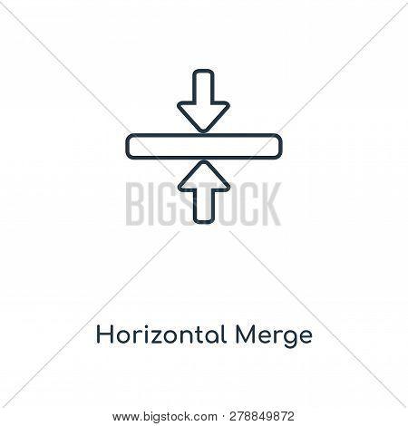 Horizontal Merge Icon In Trendy Design Style. Horizontal Merge Icon Isolated On White Background. Ho