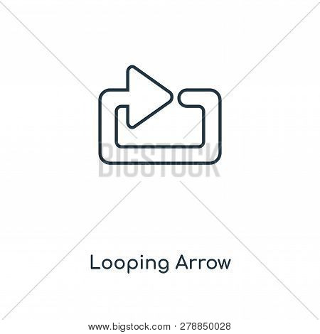 Looping Arrow Icon In Trendy Design Style. Looping Arrow Icon Isolated On White Background. Looping