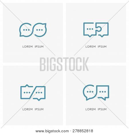 Infinity Conversation And Productive Dialogue Logo Set. Different Speech Bubbles And Chat Symbols -