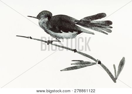 Training Drawing In Sumi-e (suibokuga) Style With Watercolor Paints - Bird On Bamboo Twig Is Hand Dr