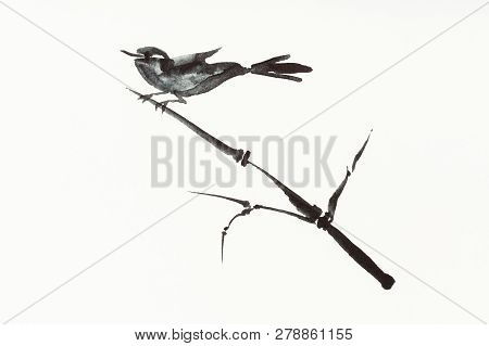 Training Drawing In Sumi-e (suibokuga) Style With Watercolor Paints - Bird On Reed Twig Is Hand Draw