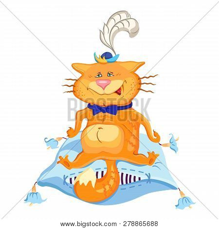 A Cat Sitting On A Pillow, Painted Imitation. Fashion Print For Pajamas Or T-shirt. Great For Fabric