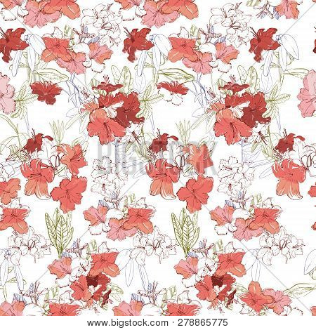 Illustration Of Seamless Pattern With Branch Pink Rhododendron. Hand Drawn Flowers For Textile And B