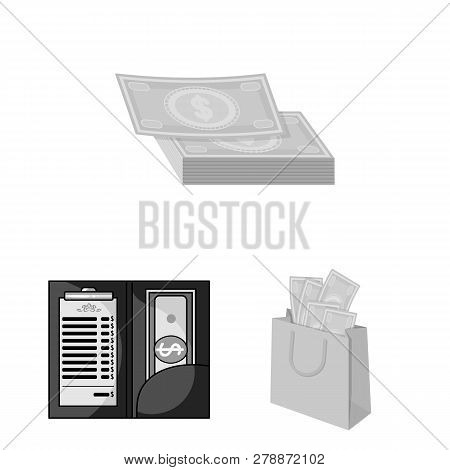 Vector Illustration Of Cash And Currency Symbol. Collection Of Cash And Stack Stock Vector Illustrat