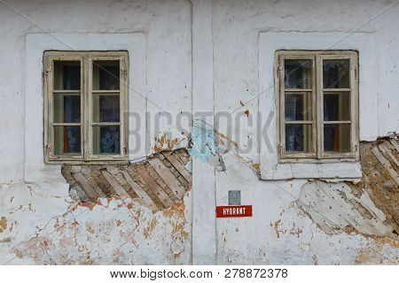 Windows Of A Traditional Cottage In A Village Of Turiec Region In Northern Slovakia.