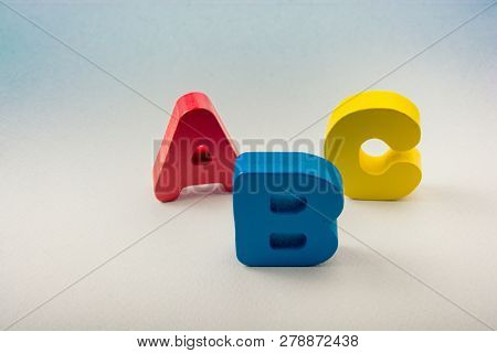 poster of Letters of abc of alphabet on white color background