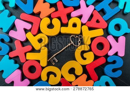 poster of Retro key and Colorful Letters of Alphabet made of wood