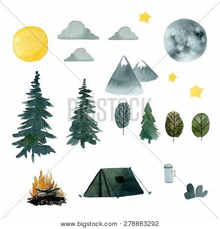 Summer Camping In The Forest, A Set Of Watercolor