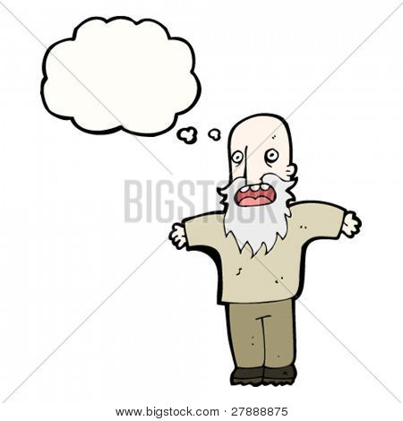 cartoon complaining old man with thought bubble