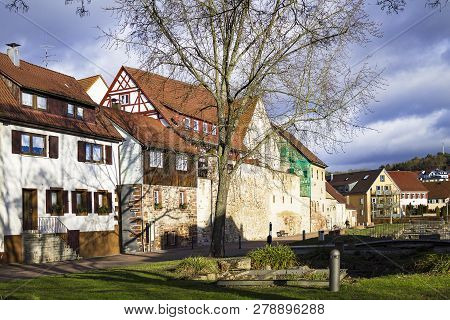 Weil Der Stadt, Germany, Jan 14, 2019: Johannes Keplers Motherland Old German Town Near Stuttgart An