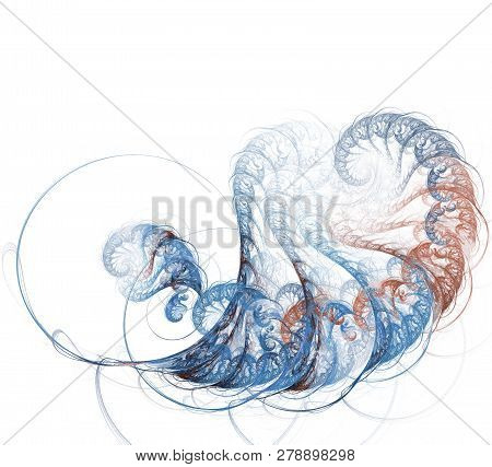 An Abstract Computer Generated Modern Fractal Design On White Background. Abstract Fractal Color Tex