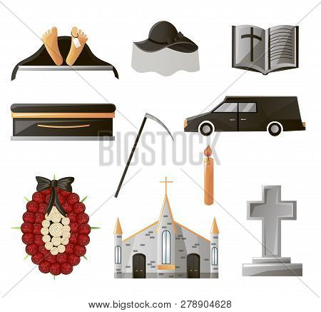 Set Of Items Used At The Funeral. Items That Are Associated With Gunpowder. Coffin, Flowers, Gravest