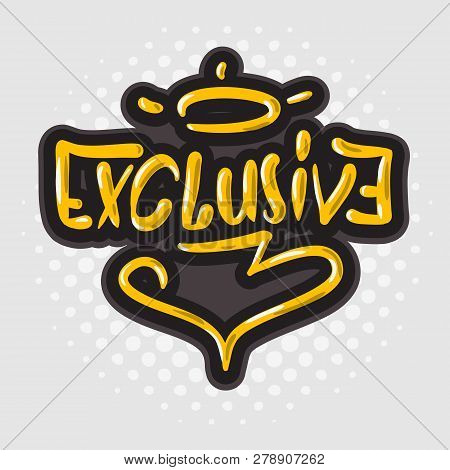 Exclusive Card Sign Hand Drawn Brush Lettering Calligraphy Type Logo Design Vector Graphic
