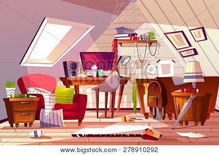 Messy room interior illustration. Cartoon garret or attic flat in clutter. Girl bedroom or living room thins in chaos, dust on furniture and scattered clothes on chair and bed or web in corner poster
