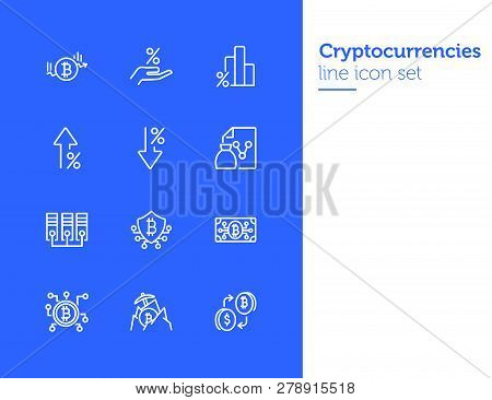 Cryptocurrencies Line Icon Set. Set Of Line Icons On White Background. Investment Concept. Bitcoin,