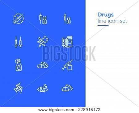 Drugs Line Icon Set. Set Of Line Icons On White Background. Medicine Concept. Syringe, Drug, Medical
