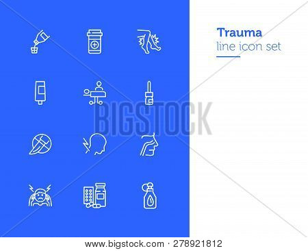 Trauma line icon set. Set of line icons on white background. Healthcare concept. Drug product, pain, surgery. Vector illustration can be used for topics like medicine, health, treatment poster