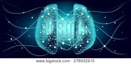 Big Data, Cyber Brain Concept With Information Connection. Artificial Intelligence (ai), Digital Tec