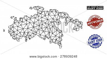 Black Mesh Vector Map Of Saint John Island Isolated On A White Background And Rubber Stamp Seals For