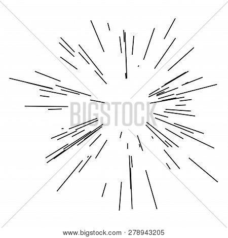 Sun Burst, Star Burst Sunshine. Radiating From The Center Of Thin Beams, Lines. Design Element For L