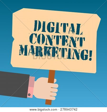 Writing Note Showing Digital Content Marketing. Business Photo Showcasing Distributing Content To A