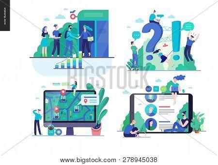 Business Series Set, Color 2-modern Flat Vector Concept Illustrated Topics -b2b Partnership, Questio