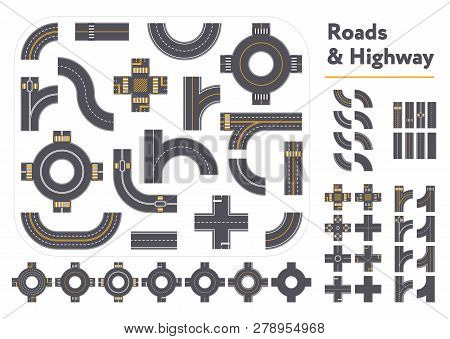 Set Of Different Intersections And Road Pieces In Graphic Style Isolated On White Background