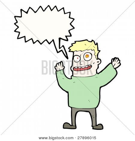 cartoon crazy man shouting