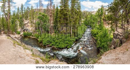 Panorama Of Middle Fork San Joaquin River Within Devils Postpile National Monument, Inyo National Fo