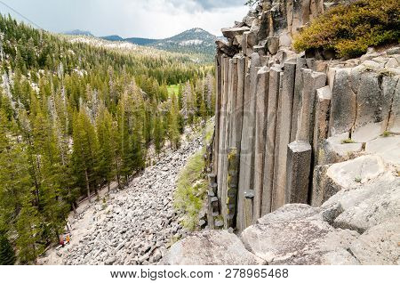 Hexagon Basaltic Columns Seen From The Top Of Devils Postpile National Monument In Inyo National For