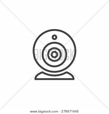 Web Camera line icon. linear style sign for mobile concept and web design. Virtual Webcam outline vector icon. Symbol, logo illustration. Pixel perfect vector graphics poster