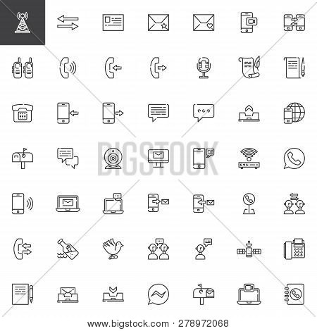 Communication Elements Line Icons Set. Linear Style Symbols Collection, Outline Signs Vector Graphic