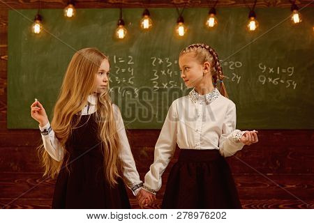 Back To School. Happy Small Girls Back To School. Back To School Concept. Modern Schooling And Back