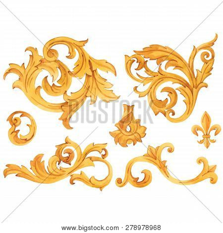 Watercolor Vector Golden Baroque Pattern Rococo Ornament Rich Luxury Elements