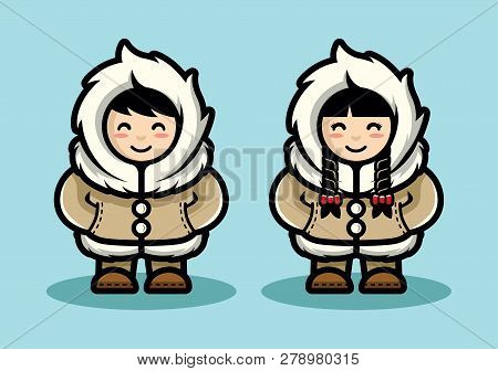 Young Eskimo Cute Couple Illustration In Cartoon Style. Arctic People Living In North Pole Flat Desi