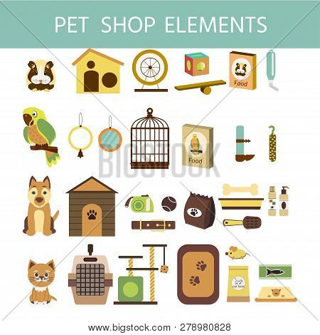 Vector Colorful Collection Of Domestic Mammals, Set Of Pets  Icon. Parrot, Dog, Cat, Hamsters  And G