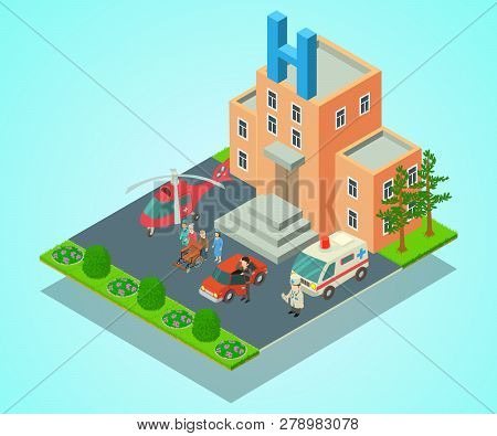 Clinical Hospital Concept Banner. Isometric Banner Of Clinical Hospital Vector Concept For Web, Gift