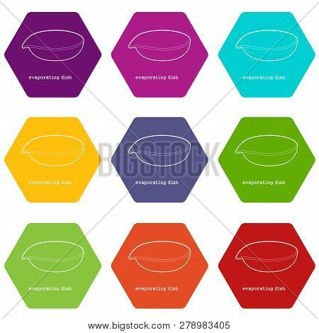 Evaporating Dish Icons 9 Set Coloful Isolated On White For Web