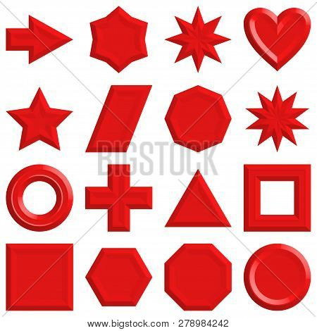 Set Of Red Buttons Of Various Shapes, Icons For Your Design. Vector