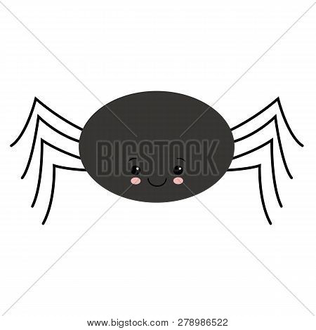 Simple Vector Of A Black Spider Hanging By A Thread. Kawaii