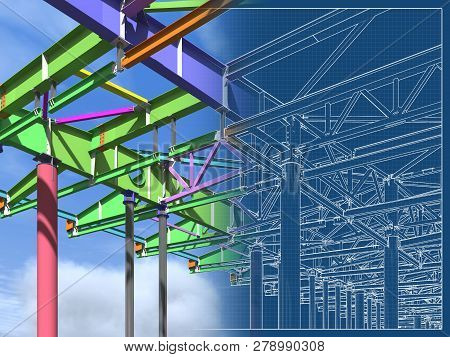 3d Rendering. Bim Model Of Metal Structure. The Building Is Made Of Metal Structures. Building Infor