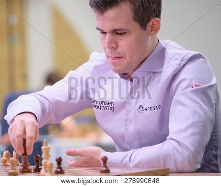 ST. PETERSBURG, RUSSIA - DECEMBER 29, 2018: World Chess Champion Magnus Carlsen, Norway competes in World Blitz Chess Championship. Eventually he won the tournament and became World Blitz Champion