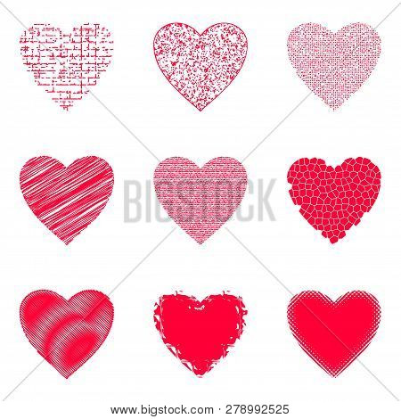Set Of Valentine Hearts With Abstract Texture Patterns, Holiday Symbols Of Love, Design Elements. Ve