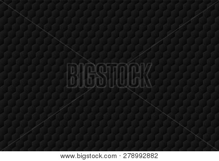 Abstract Black Hexagon Embossed Pattern Dark Background And Texture. Luxury Style. Vector Illustrati