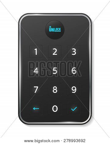 Passcode Interface For Lock And Unlock - Number Keyboard. Vector Illustration.